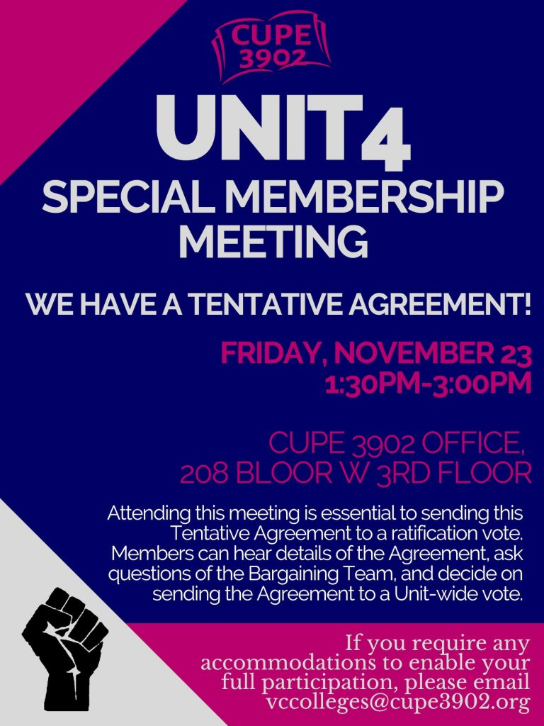 CUPE 3902 Ratifies Agreement with USMC